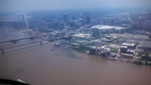 St Louis Arch Southbound on the Mississippi